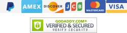 PayPal, Amex, Discover, JCB, Master Card, Visa | GoDaddy SSL - Verified and Secured